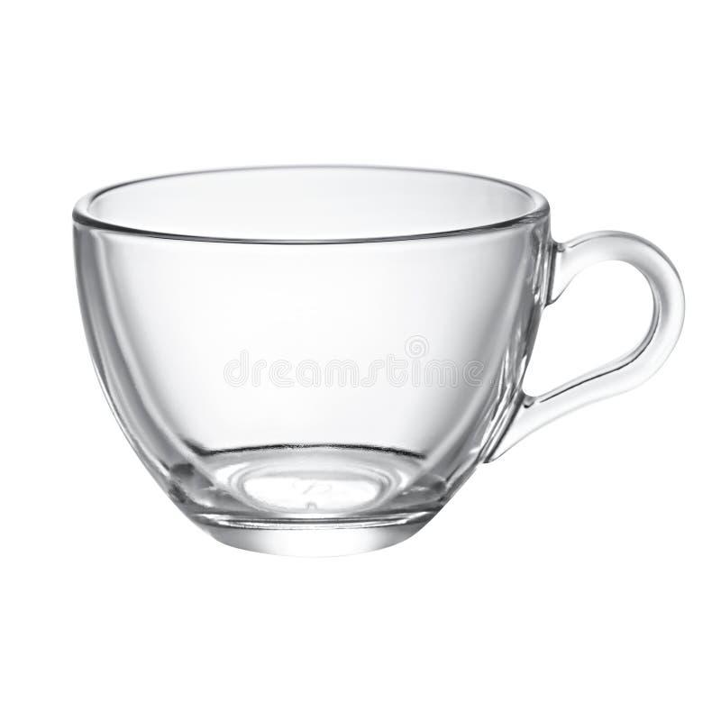 Taza de cristal vacía para el té foto de archivo