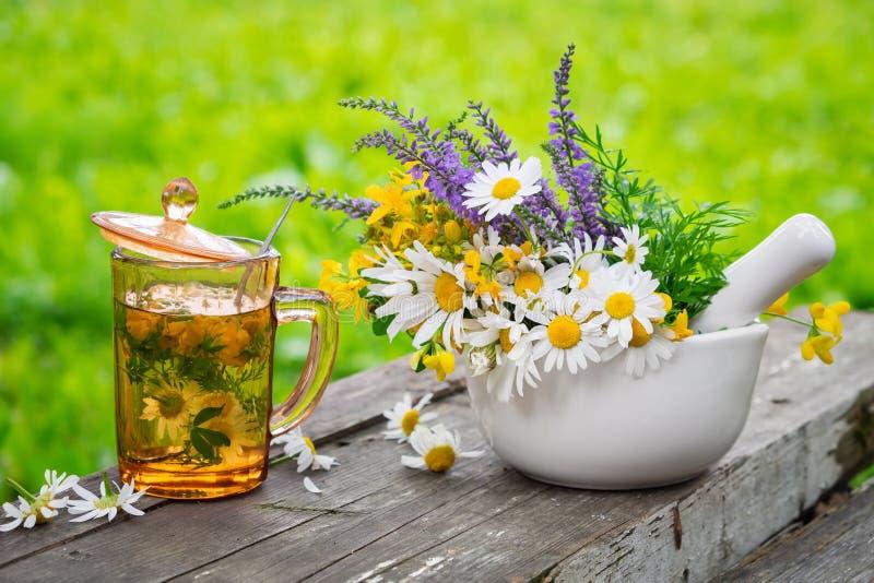 Taza de infusión de hierbas sana, mortero de hierbas medicinales en el tablero de madera foto de archivo libre de regalías