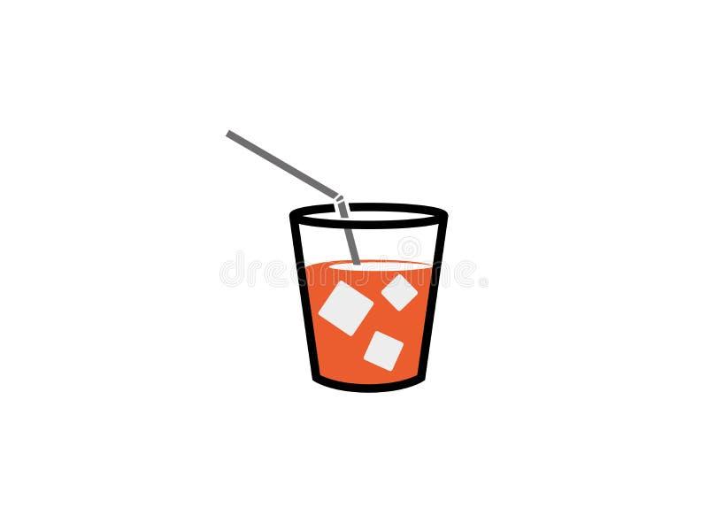 Taza de jugo con los cubos y la paja cuadrados de hielo para el diseño del logotipo ilustración del vector