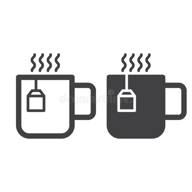 Taza de línea del té y de icono sólido, esquema y pictograma llenado de la muestra del vector, linear y lleno aislados en blanco stock de ilustración