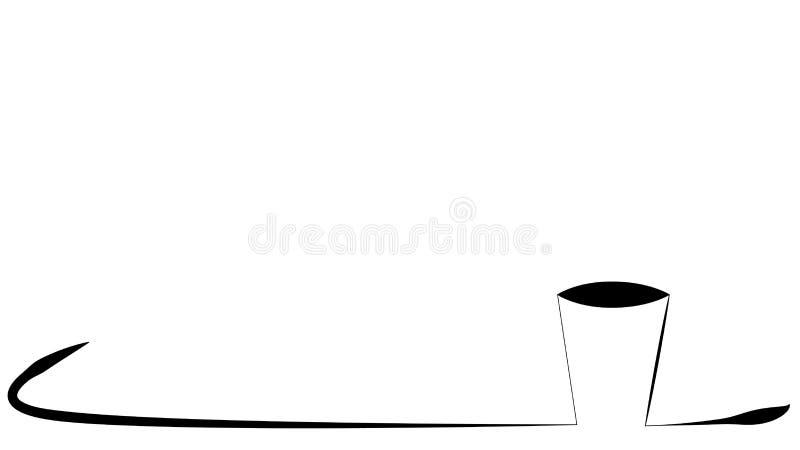 Taza de línea marco del café del arte stock de ilustración