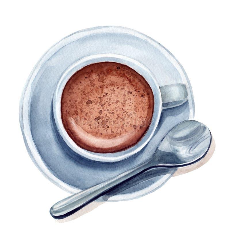 Taza de la acuarela de café stock de ilustración
