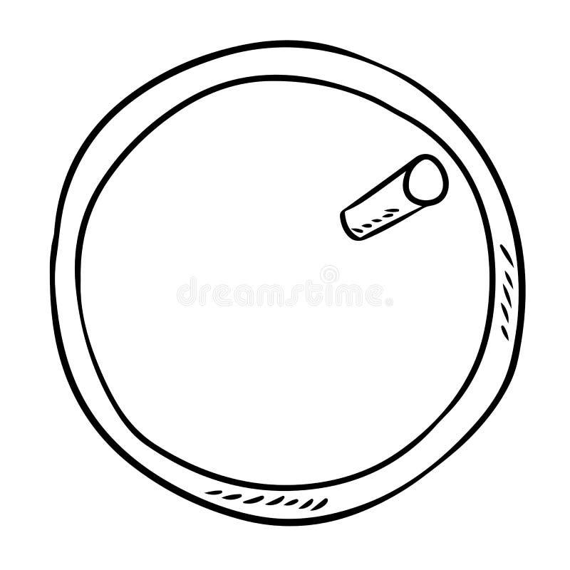 Taza de la bebida de café o de té con una opinión de top de la paja Imagen exhausta del estilo de la historieta de la mano stock de ilustración