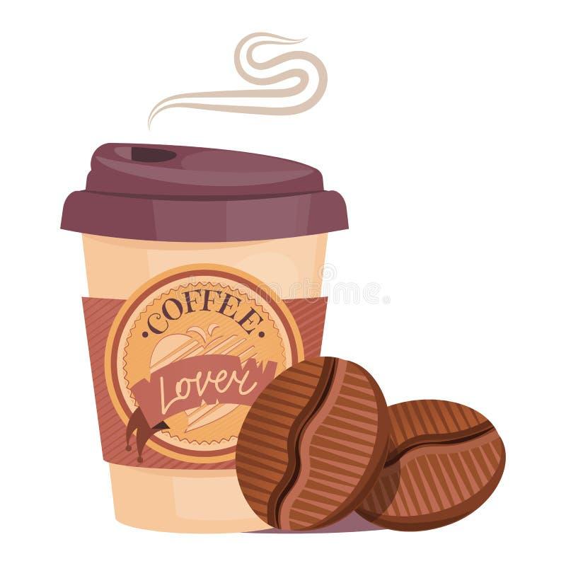 Taza de la taza del viaje del café con la insignia conveniente para el logotipo con los granos de café calientes grabados libre illustration