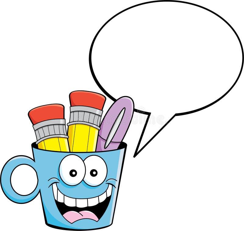 Taza de la historieta con un globo del subtítulo stock de ilustración