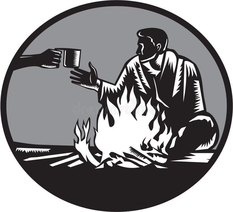Taza de la hoguera del campista de grabar en madera del círculo del café libre illustration