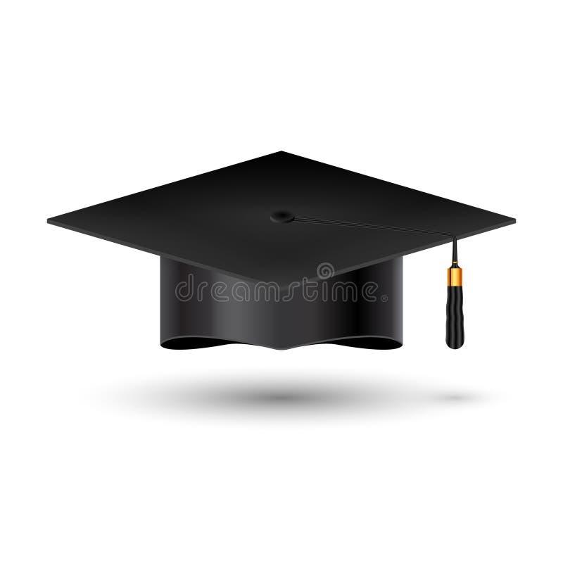 Taza de la universidad de la graduación de la educación en el fondo blanco Sombrero académico del estudiante del éxito para el lo ilustración del vector