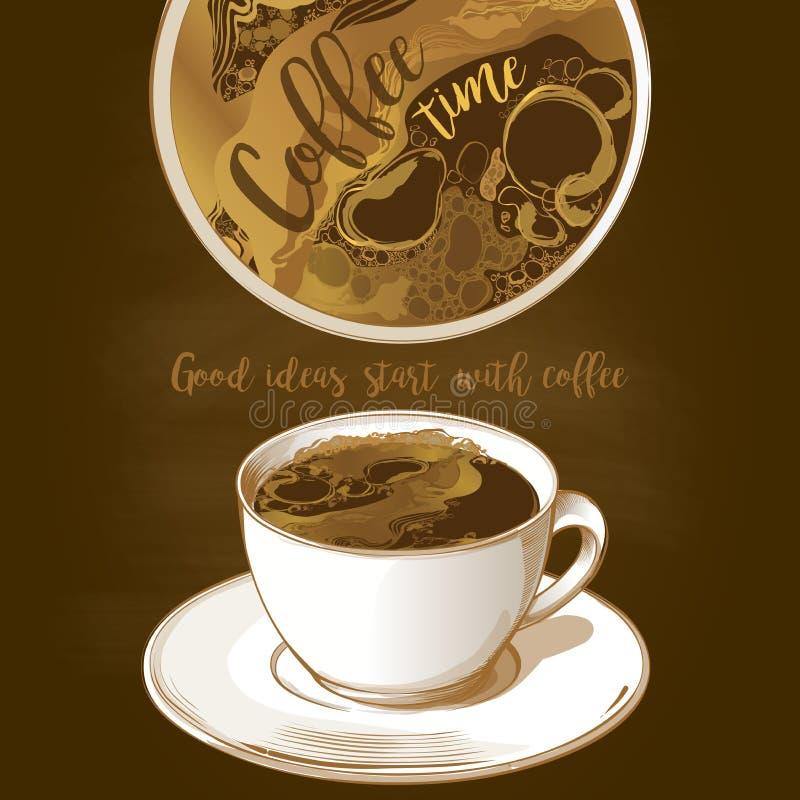 Taza de latte del café stock de ilustración
