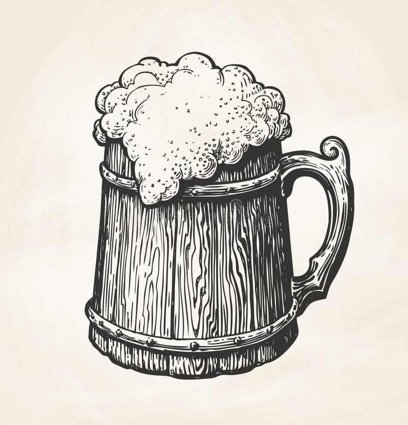 Taza de madera del vintage a mano con la espuma, bosquejo Bebida, cerveza, símbolo de la cerveza inglesa Ejemplo del vector para  stock de ilustración