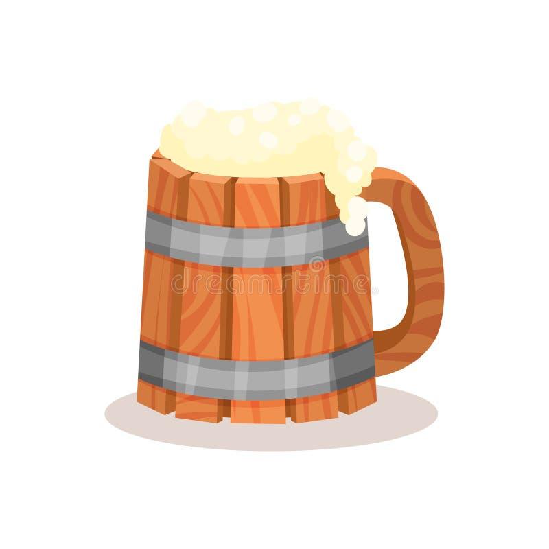 Taza de madera grande de cerveza con espuma Bebida alcohólica Elemento plano del vector para la bandera de la taberna o de la bar ilustración del vector