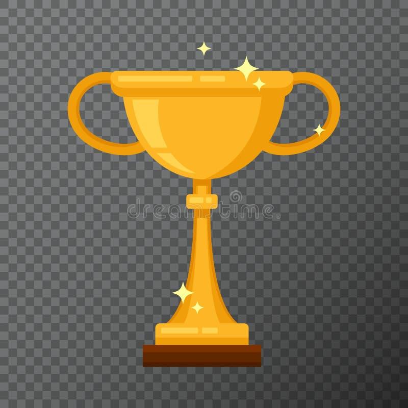 Taza de oro del campeón en fondo Vector el icono del cubilete hecho en diseño plano simple stock de ilustración