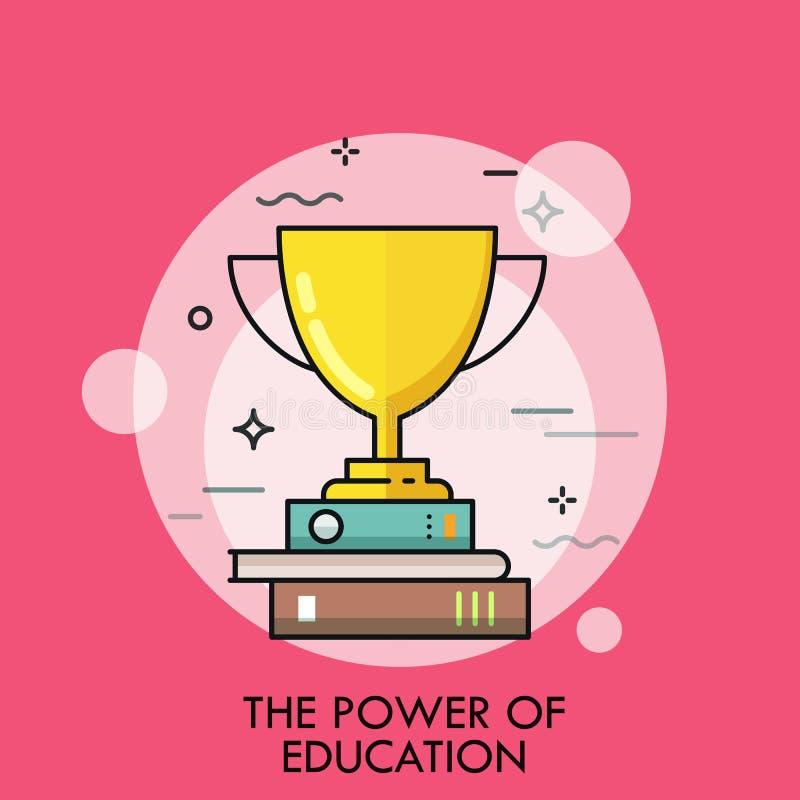 Taza de oro del ganador que se coloca en la pila de libros Concepto de poder de la educación, éxito del estudio, estudiante acert libre illustration