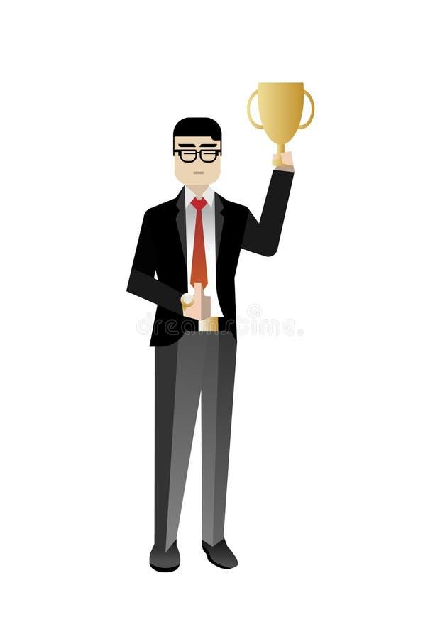 Taza de oro del premio del control asiático del hombre de negocios ilustración del vector