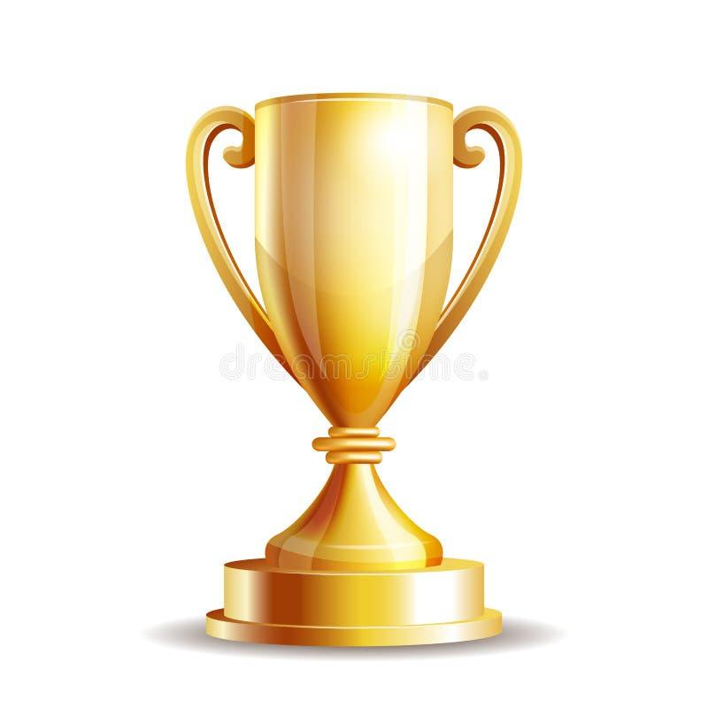 Taza de oro del trofeo ilustración del vector