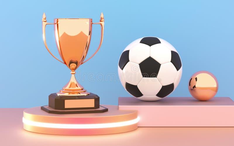 Taza de oro del trofeo con el balón de fútbol en el podio Taza del ganador y bola del f?tbol Premios de oro brillantes del trofeo stock de ilustración