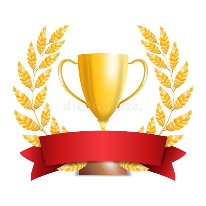 Taza de oro del trofeo con Laurel Wreath And Red Ribbon Diseño del premio Concepto del ganador Aislado en el fondo blanco Vector libre illustration