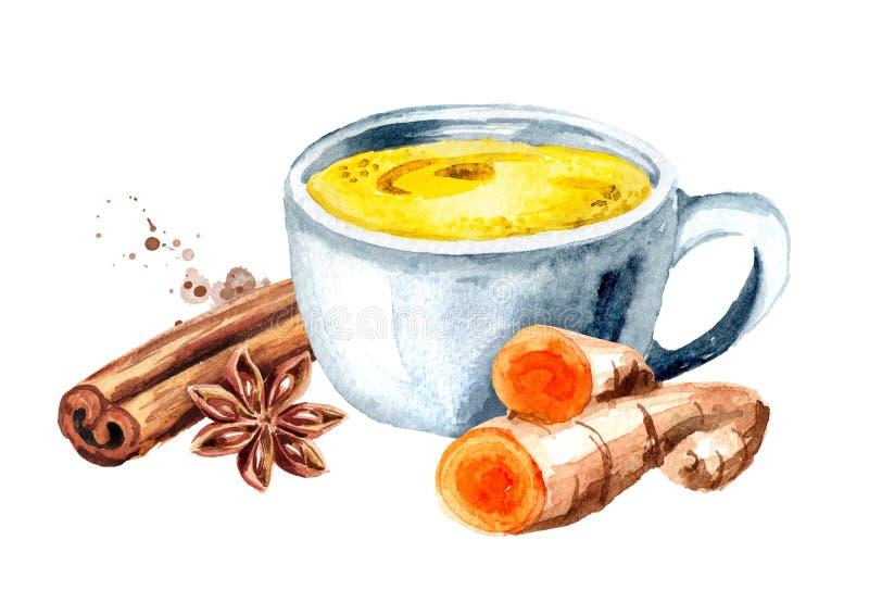 Taza de oro de la leche, hecha con la cúrcuma y las especias Ejemplo dibujado mano de la acuarela, aislado en el fondo blanco ilustración del vector