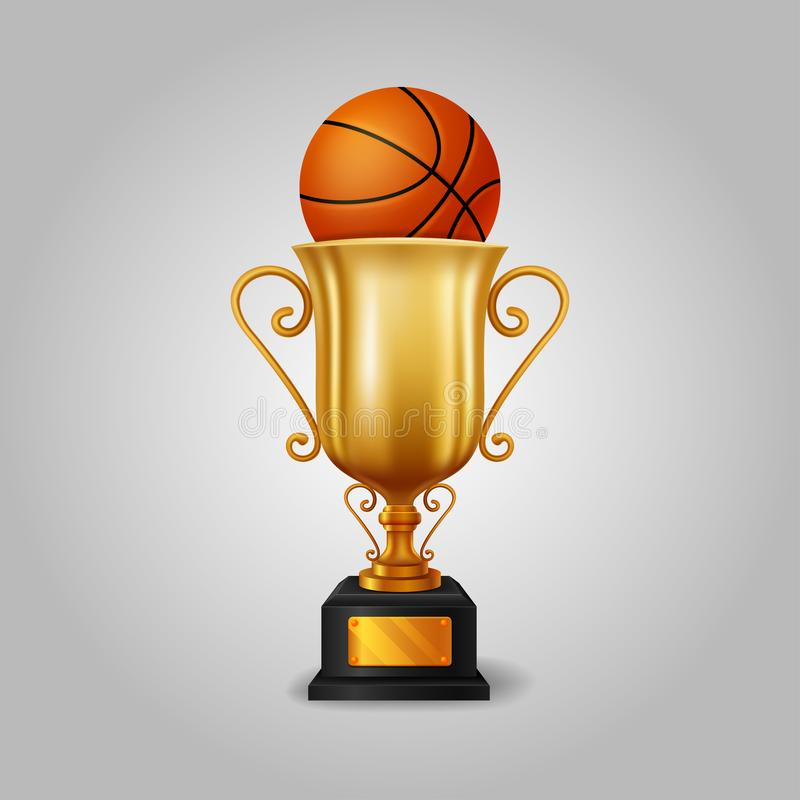 Taza de oro realista del trofeo con una bola del baloncesto libre illustration