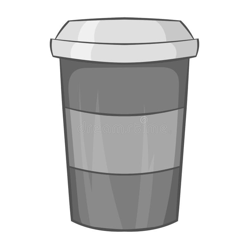 Taza de papel de icono del café, estilo monocromático negro ilustración del vector