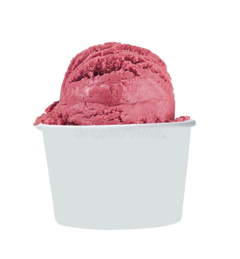 Taza de papel en blanco con helado suave de la fresa imagenes de archivo