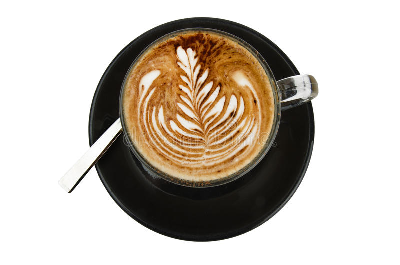 Taza de rosetta del cappuccino foto de archivo