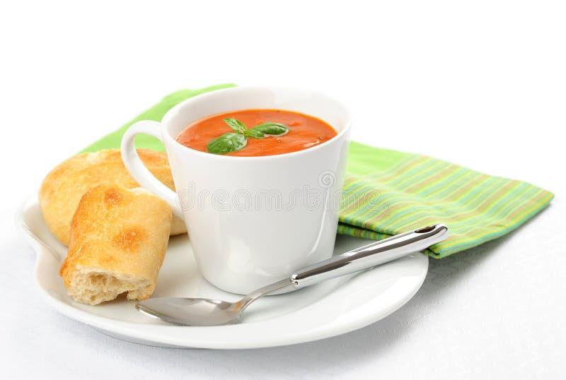 Taza de sopa del tomate foto de archivo libre de regalías