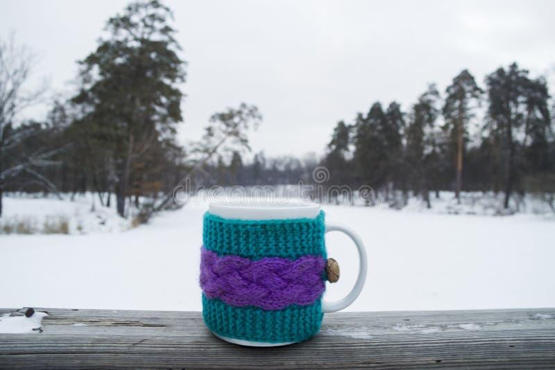 Taza de té caliente en una cubierta de punto fotos de archivo libres de regalías