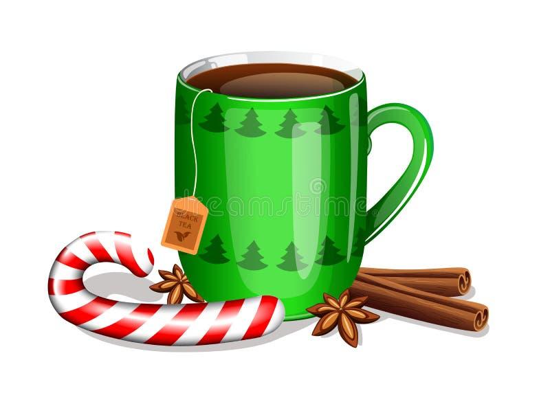 Taza de té con el bastón de caramelo de la Navidad, los palillos de canela y las estrellas del anís ilustración del vector