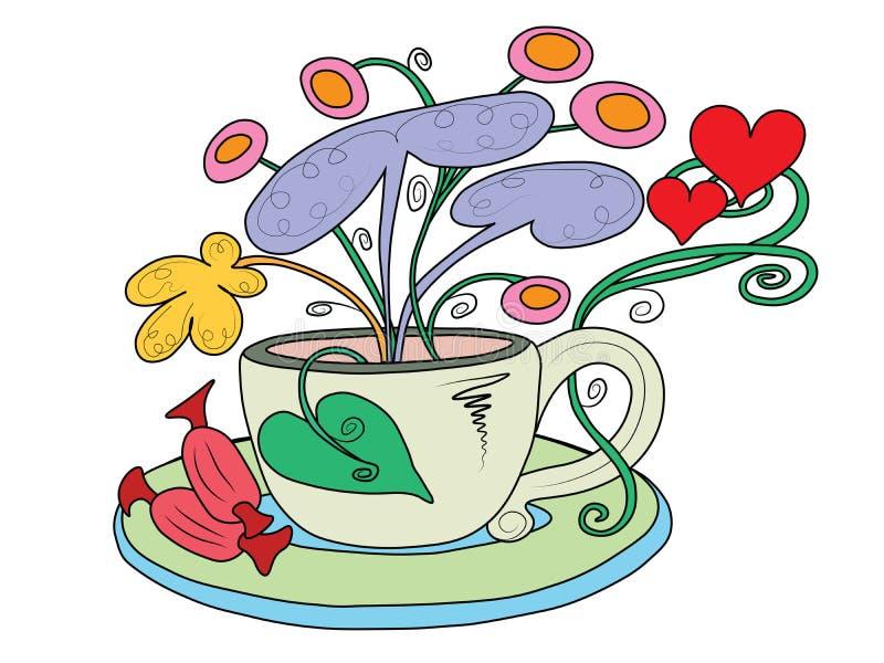 Taza de té con el crecimiento de flores de hadas fuera de él fotos de archivo