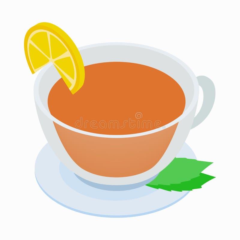 Taza de té con el icono de la menta y del limón stock de ilustración
