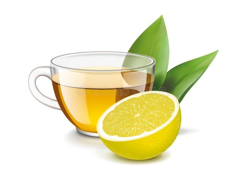 Taza de té con el limón y las hojas foto de archivo