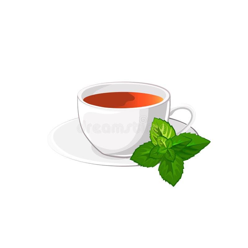 Taza de té con la menta ilustración del vector