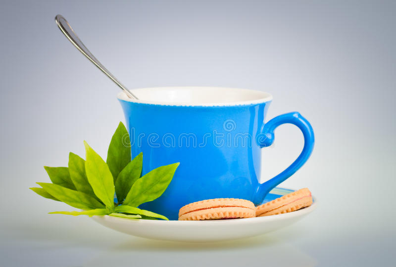 Taza de té con las hojas y las galletas del verde imagen de archivo