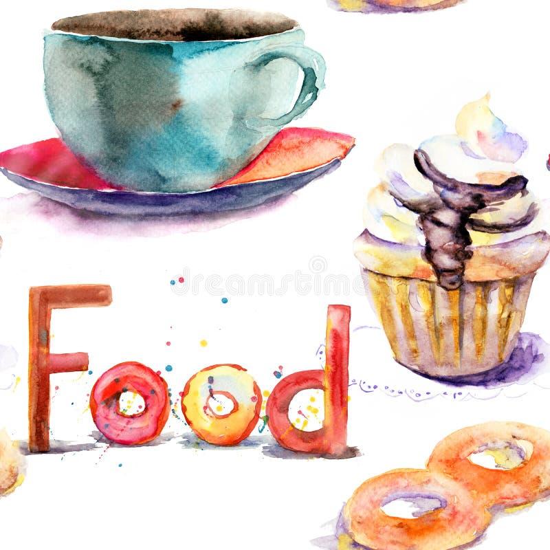 Taza de té con los bollos stock de ilustración