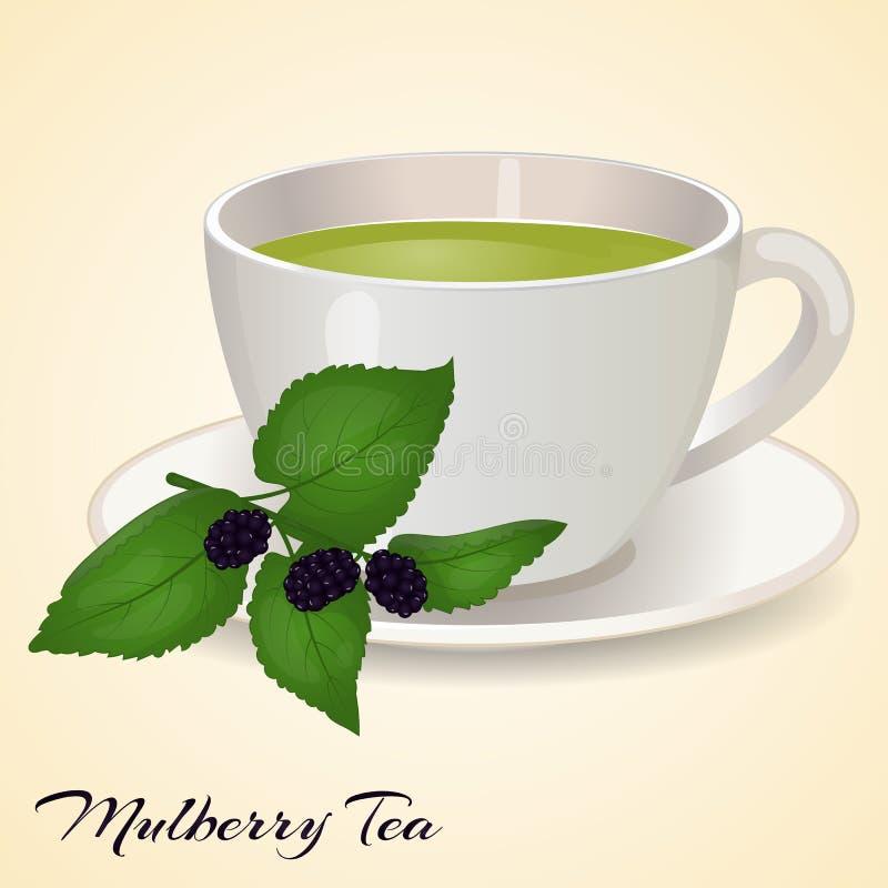 Taza de té con Mullberry y hojas en fondo anaranjado Té de Mullberry Ilustración del vector ilustración del vector