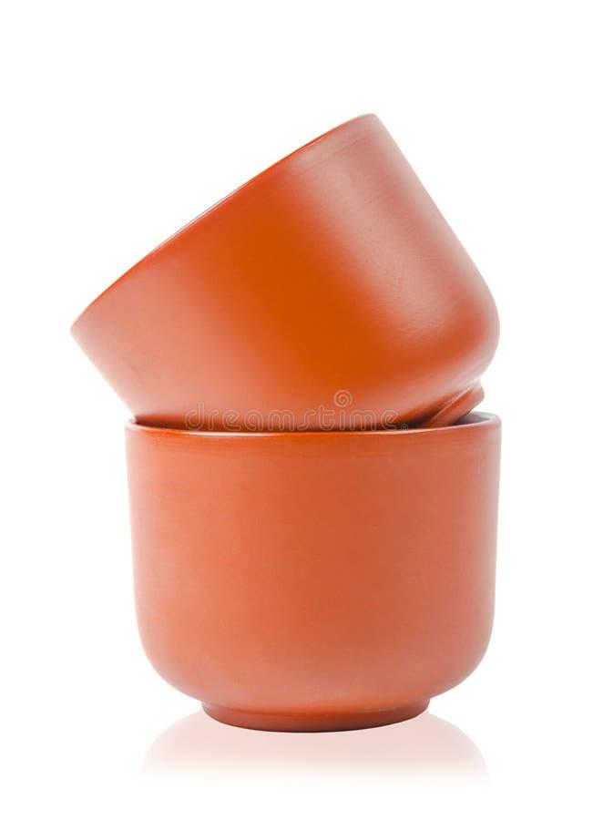Taza de té de la arcilla de la loza de barro para el chino foto de archivo