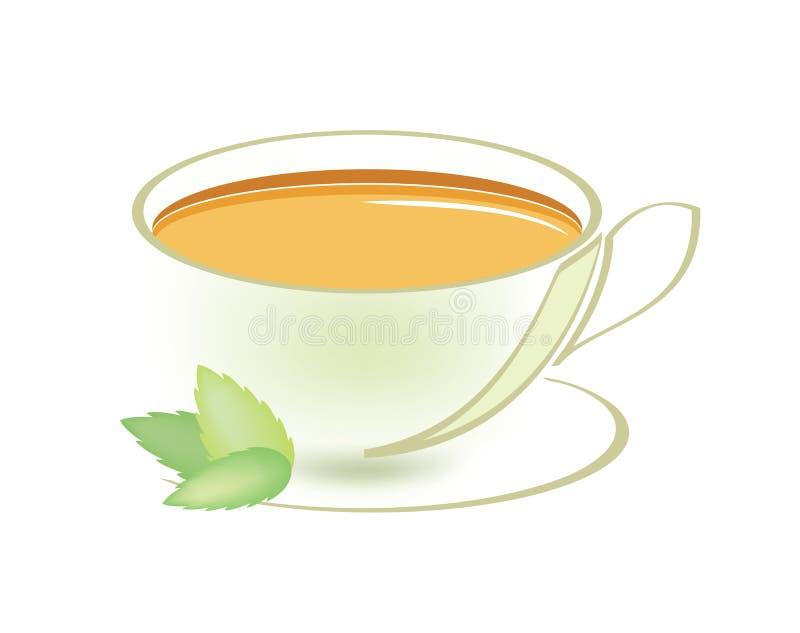 Taza de té de la menta stock de ilustración