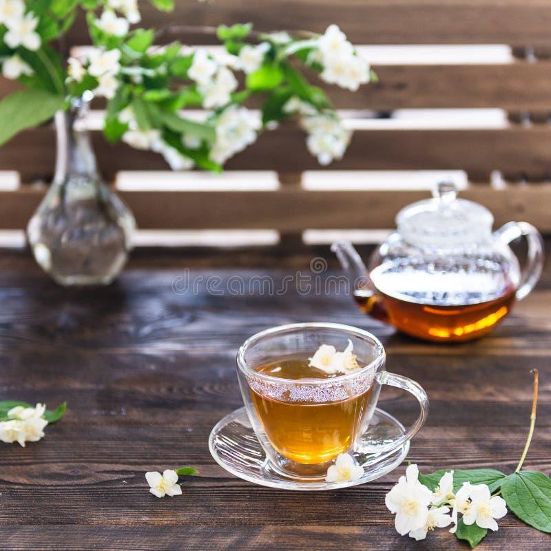Taza de té del jazmín y pote transparente del té en la tabla de madera Fiesta del t? de la primavera Copie el espacio imágenes de archivo libres de regalías