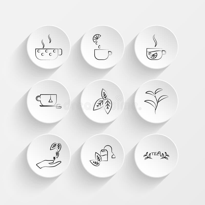 Taza de té, taza del limón del té, del té de la taza, del azúcar, del limón y de la taza, iconos de la bolsita de té en sistema d ilustración del vector