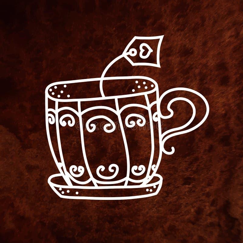Taza de té dibujada mano del vector con la bolsita de té Vector stock de ilustración