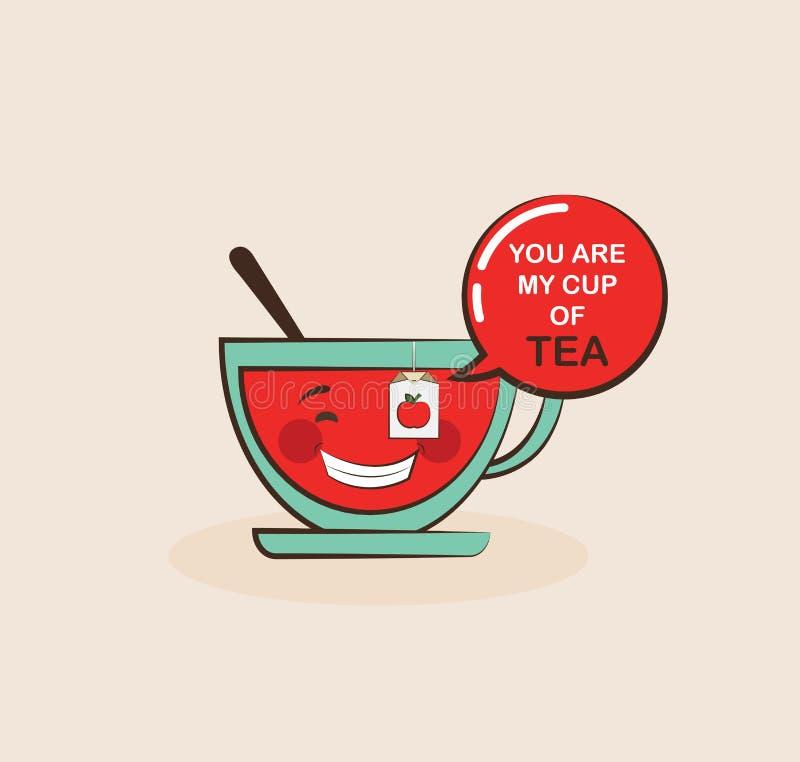 Taza de té divertida con cita divertida, tarjeta de felicitación de la tarjeta del día de San Valentín stock de ilustración