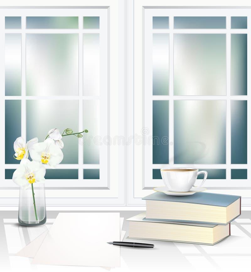 Taza de té en pila de los libros al lado de la ventana en la tabla imagen de archivo