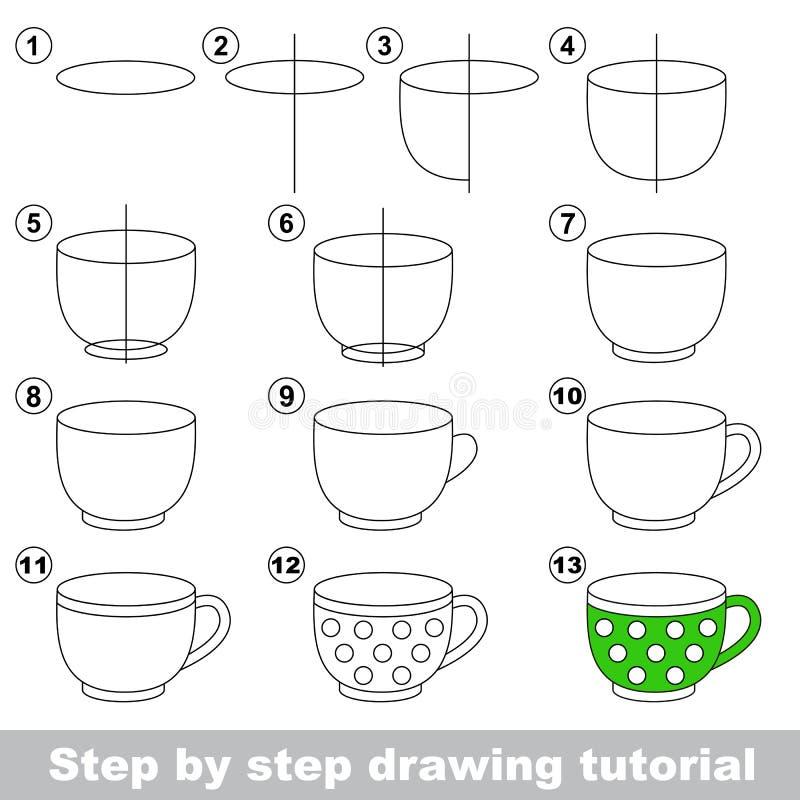 Taza de té grande Tutorial del dibujo stock de ilustración