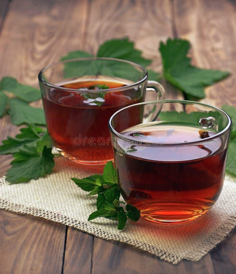 Taza de té de la menta y hojas de la menta en la tabla Una taza de infusión de hierbas en el fondo blanco Heali imagenes de archivo