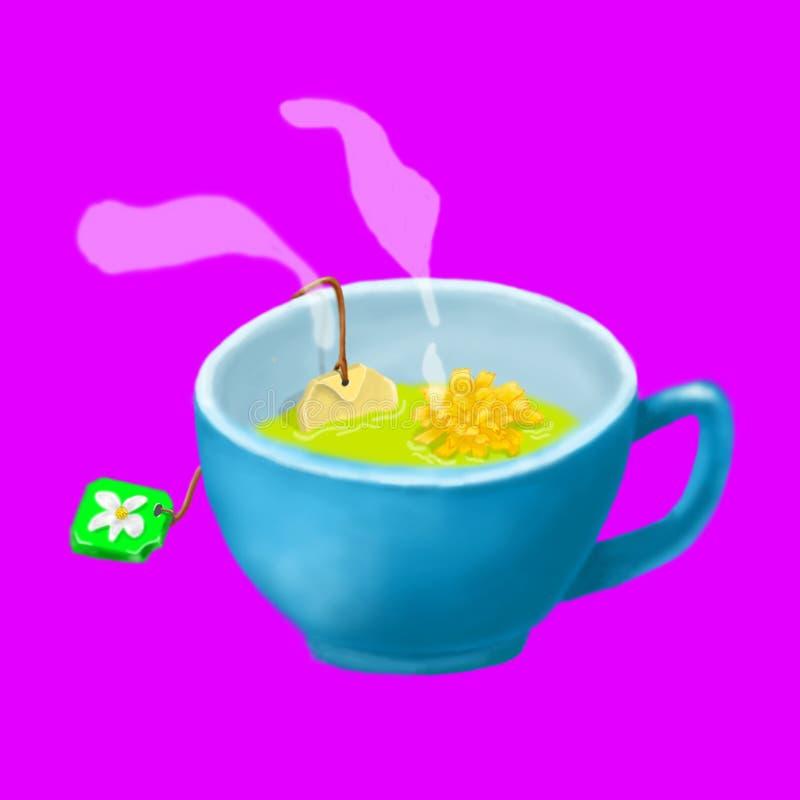Taza de té, margarita, ejemplo stock de ilustración