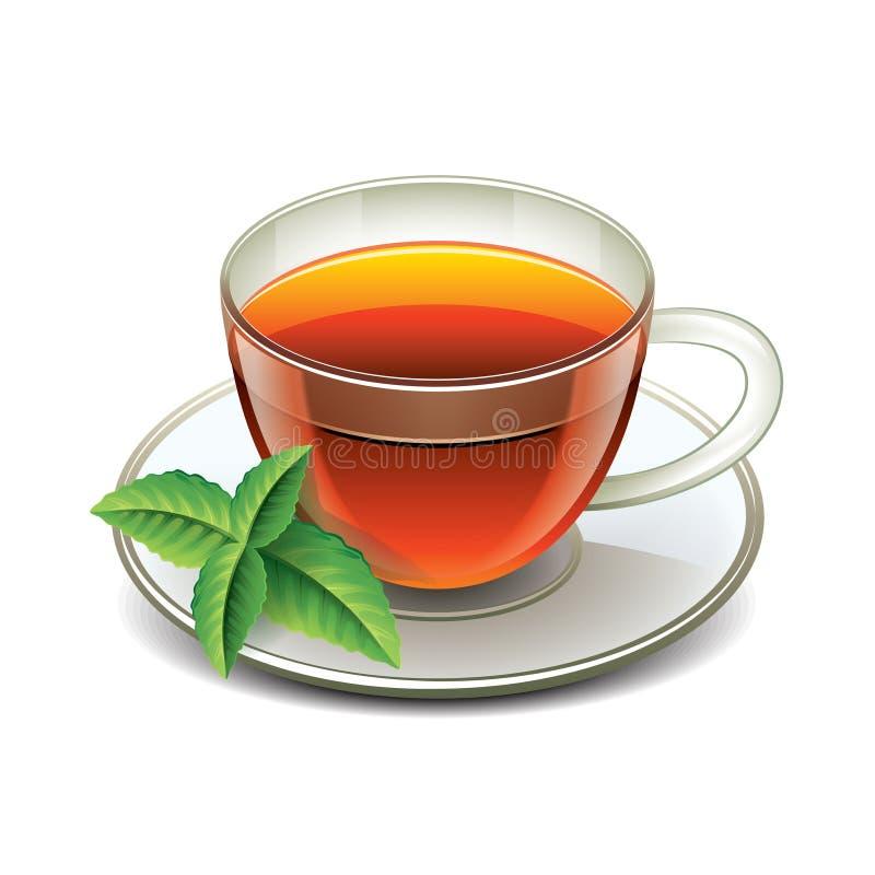 Taza de té negro con las hojas de menta aisladas libre illustration