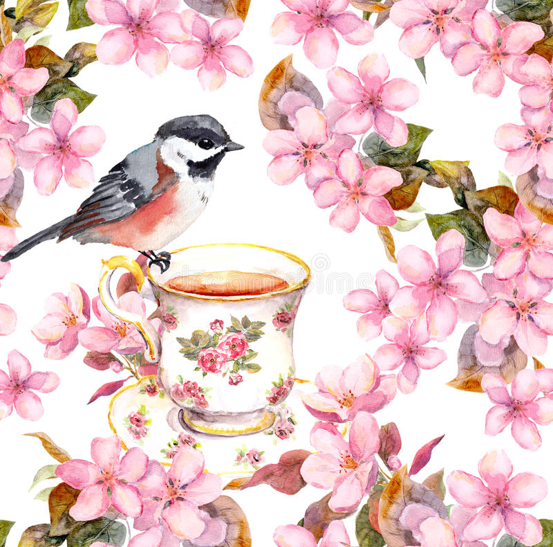 Taza de té, pájaro y flores florecientes Modelo floral inconsútil Arte del Watercolour en el fondo blanco libre illustration