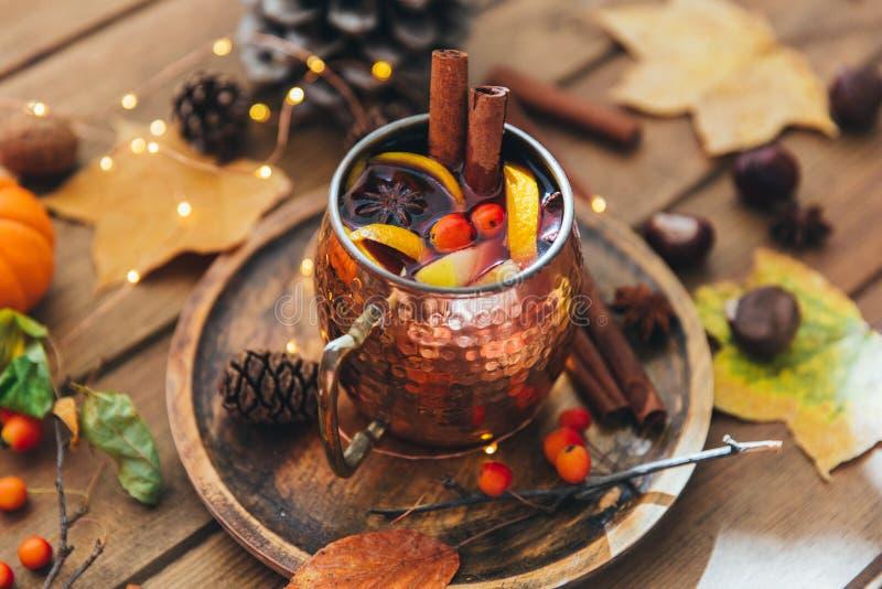Taza de té picante caliente con anís y canela imagen de archivo