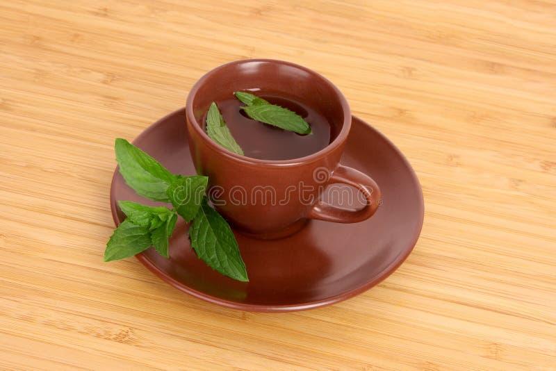 Taza de té verde en el platillo con la menta imágenes de archivo libres de regalías