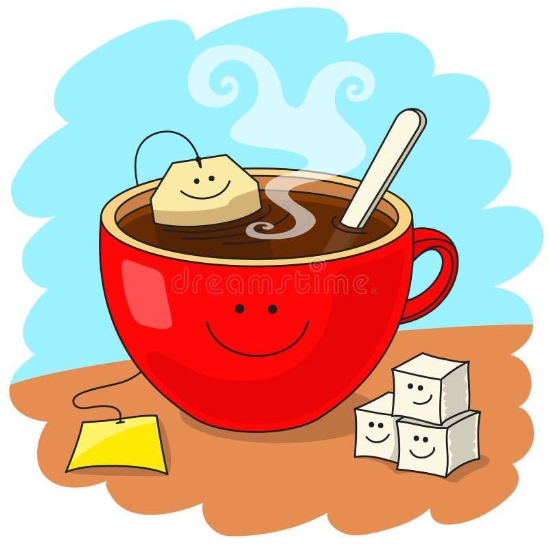 Taza de té y de buen humor libre illustration